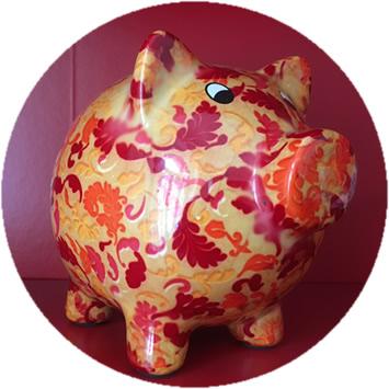 Foto: rot-orange gemustertes Sparschwein